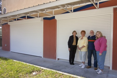 Sterling Society Board Members Fran Newman, Johanna Guzik and Candy Ryan with DFAC Facilities Manager Art Leasure