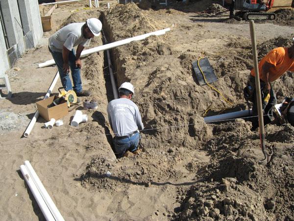 Preparing Plumbing for the Slab coming!