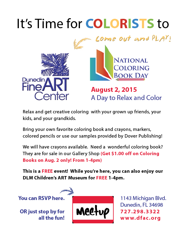 National Coloring Book Day at DFAC August 2 2015 Dunedin Fine