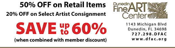 50% OFF on Retail Items 20% OFF on Select Artist Consignment  -  SAVE up  to 60% (when combined with member discount)