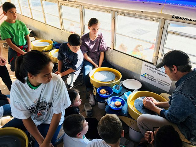 Wheels on Wheels provides a mobile classroom for students to learn the art of clay making.