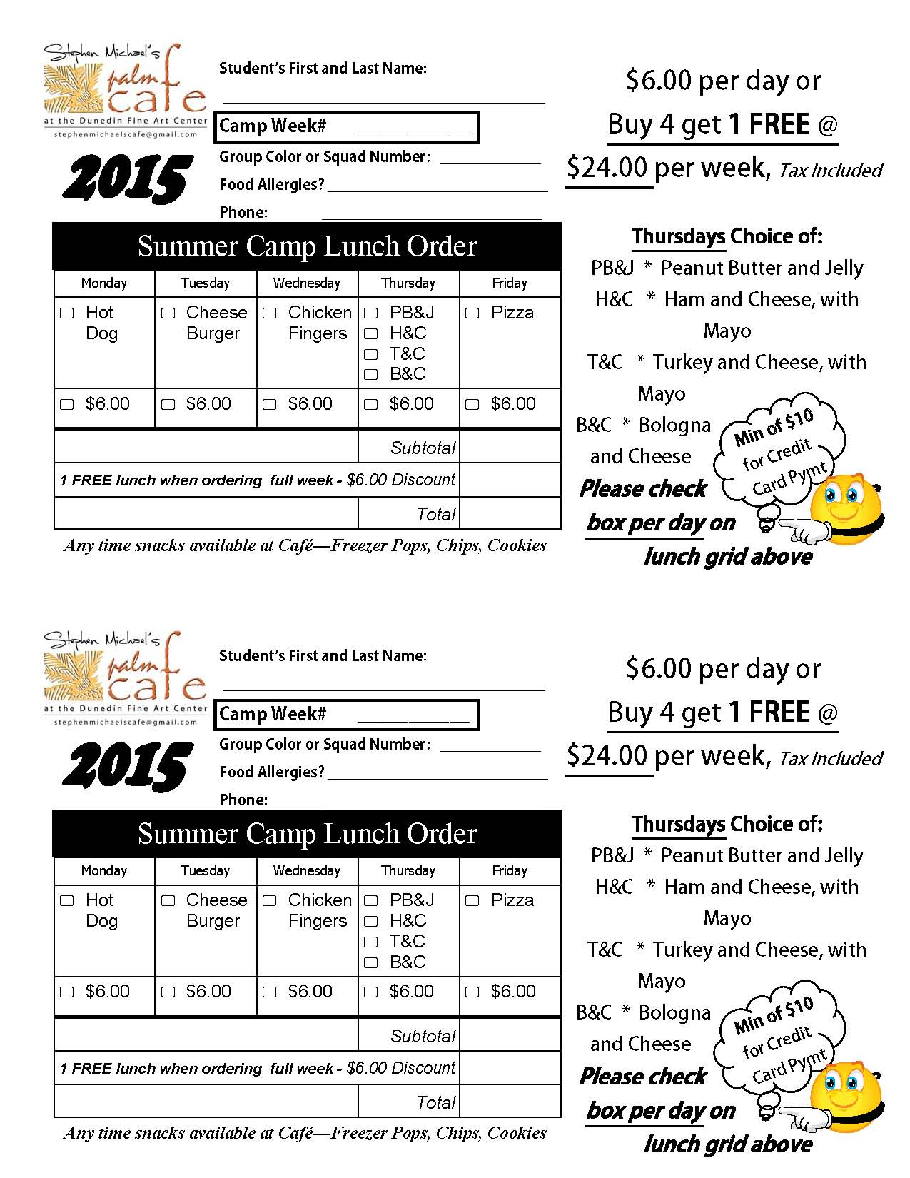 2015 Summer Lunch Form