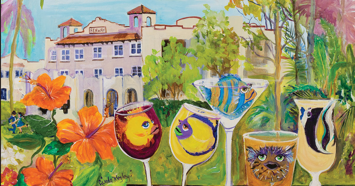 This painting by Linda Kegley has been selected as the theme artwork for the 2018 Dunedin Fine Art Center Garden Party.