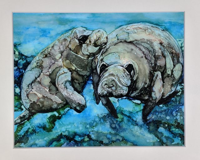 This Alcohol Inks by Heidi Stavinga is one of many 2-D items available inside the Dunedin Fine Art Center Gallery Shop.