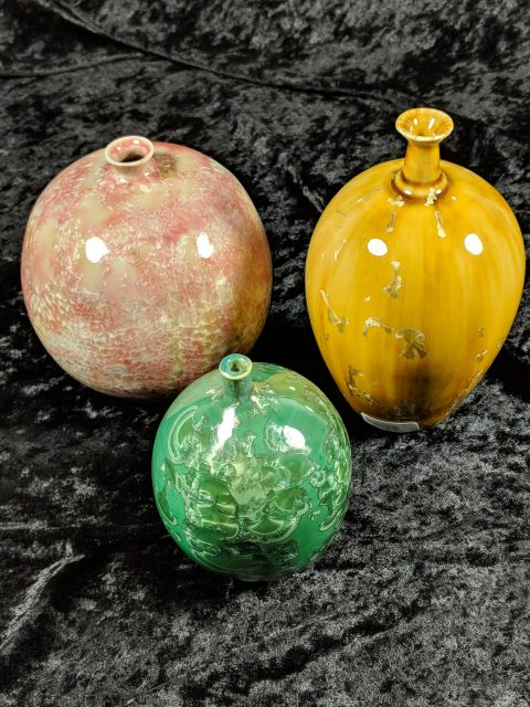 Glazed ceramic artwork, like these by Mitch Lowenstein, are available in the Gallery Shop at the Dunedin Fine Art Center.