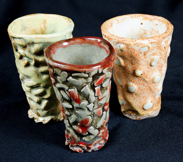 These Shot Glasses by Merrill Kramer are many ceramic creations on consignment inside the Gallery Shop at the Dunedin Fine Art Center.
