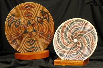 Artist Larry Hasiak's wooden basket-weave plates are among the many creations on consignment inside the Dunedin Fine Art Center Gallery Gift Shop.