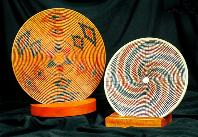 These Basket Weave Plates by Larry Hasiak are among the collections of wood creations in the Dunedin Fine Art Center Gallery Shop.
