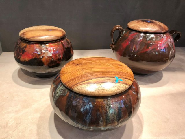 These Ceramic and Wood combination bowls by Tom Davis are consignment items at the Dunedin Fine Art Center Gallery Shop.