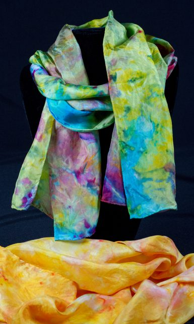 Marlene Glickman's silk scarves can be found for sale in the Gallery Shop at the Dunedin Fine Art Center.