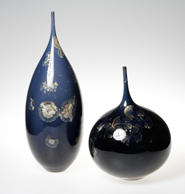 Glazed ceramic artwork, like these by Jose Mariscal, are available in the Gallery Shop at the Dunedin Fine Art Center.