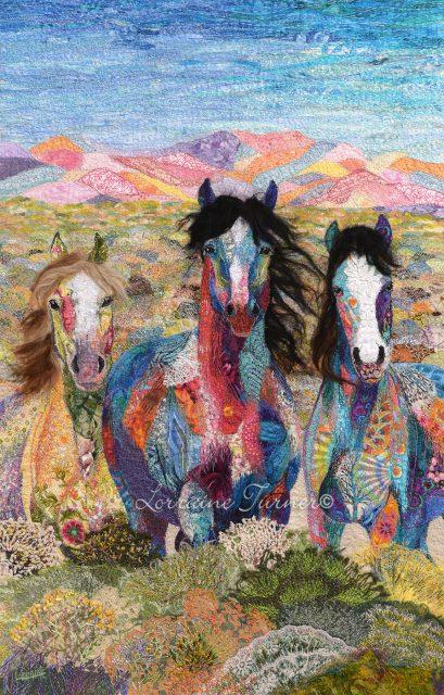 Calico horses appeared to fiber artist Lorraine Turner through meditation.