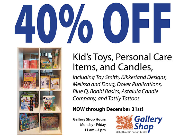 40% OFF Kid's Toys, Personal Care Items, and Candles, including Toy Smith, Kikkerland Designs, Melissa and Doug, Dover Publications, Blue Q, Bodhi Basics, Astalula Candle Company, and Tattly Tattoos NOW through December 31st! - Gallery Shop Hours Monday - Friday 11 am - 3 pm